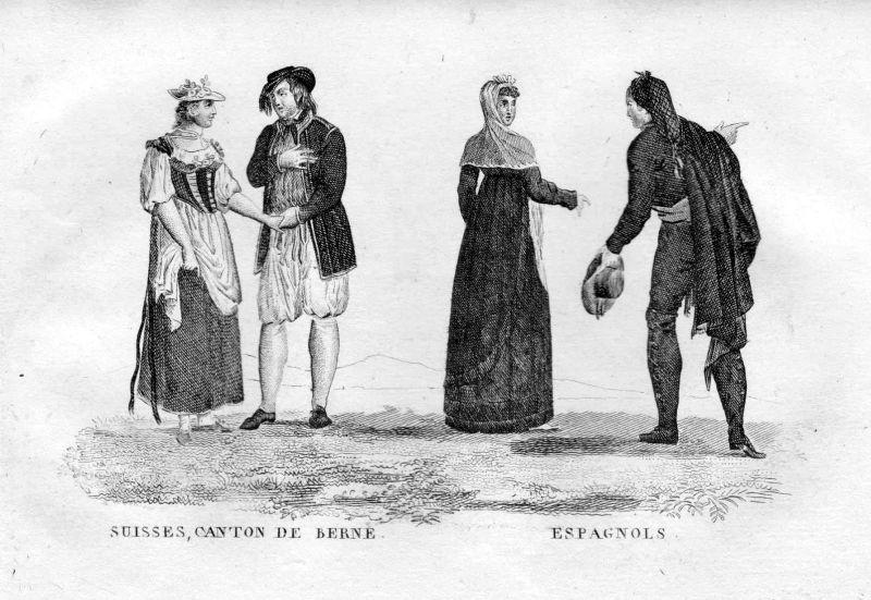 1800 Schweiz Bern Espana Spanien Tracht Trachten costumes Kupferstich engraving