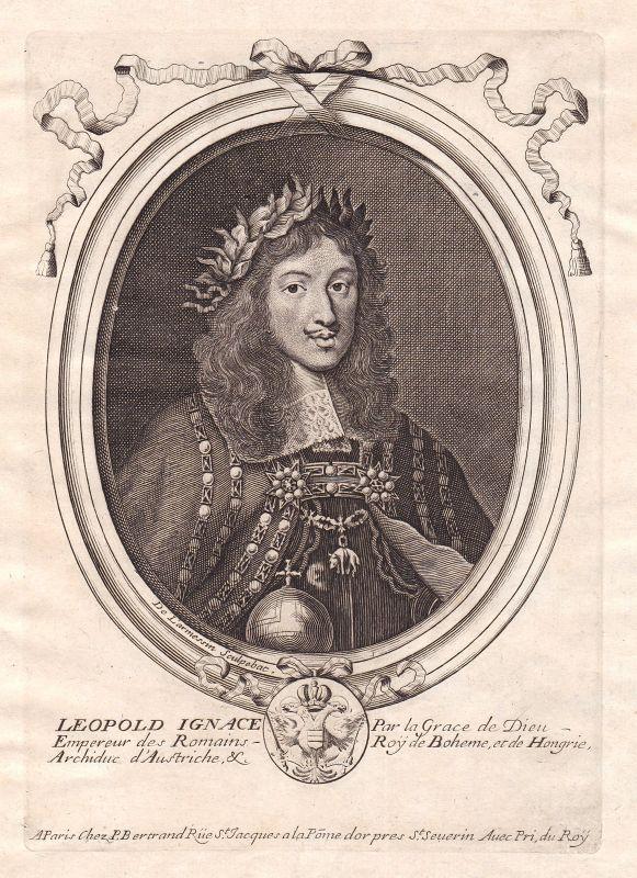 1680 Leopold I HRR Kaiser Roman Emperor Portrait Kupferstich engraving Larmessin