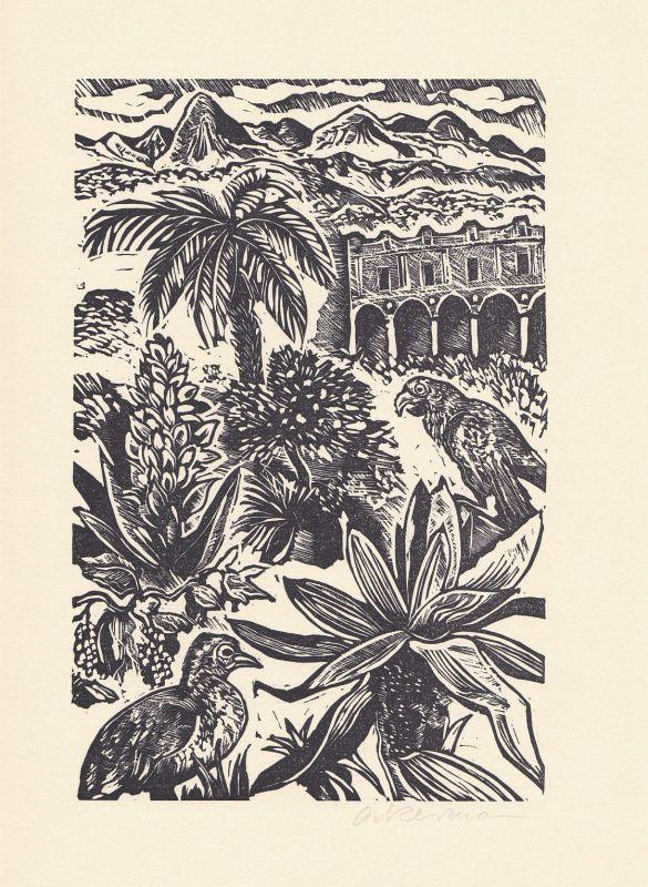 1979 Helmut Ackermann Voltaire Original-Linolschnitt Candide signiert