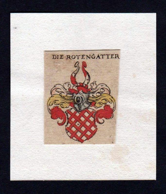 Rotengatter 17. Jh Wappen coat of arms heraldry Heraldik Kupferstich