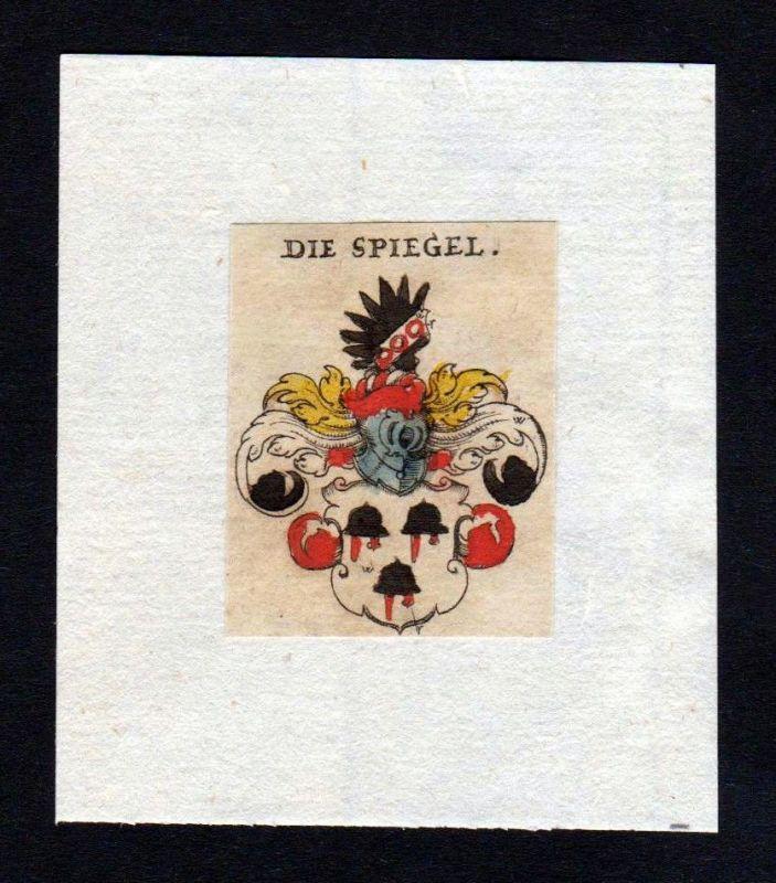 17. Jh Spiegel Wappen coat of arms heraldry Heraldik Kupferstich