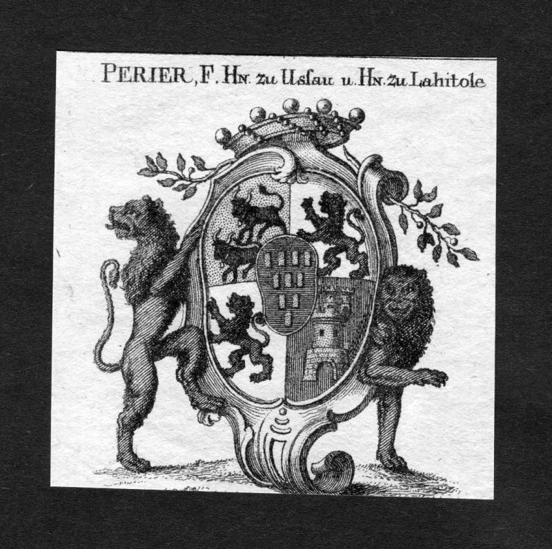 1820 Perier zu Ussau u. zu Lahitole Wappen Adel coat of arms heraldry Heraldik