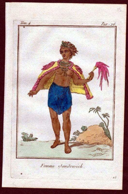 1780 - Sandwich Inseln island costume Kupferstich Tracht antique print 115208