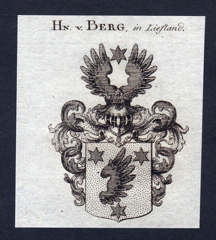1820 Berg Liefland Wappen Adel coat of arms Heraldik Kupferstich engraving