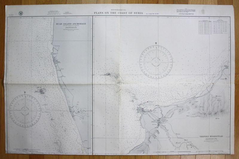 Mediterranean Sea Plans Coast Syria Ruad Island Anchorage Tripoli Roadstead map