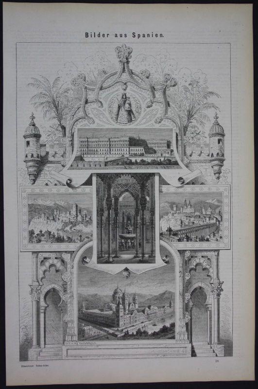 1875 Spanien Espana Spain Panorama Holzschnitt antique print