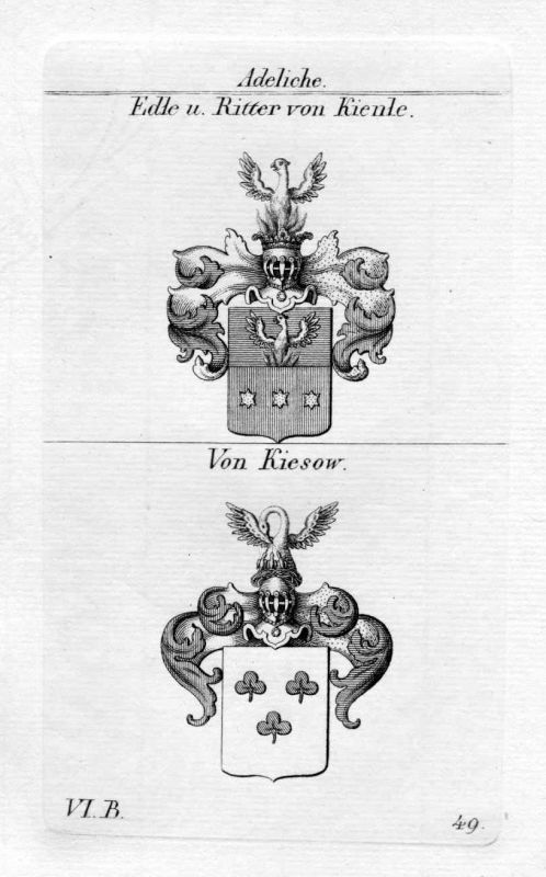 Ritter von Kienle / Von Kiesow / Bayern - Wappen coat of arms Heraldik heraldry