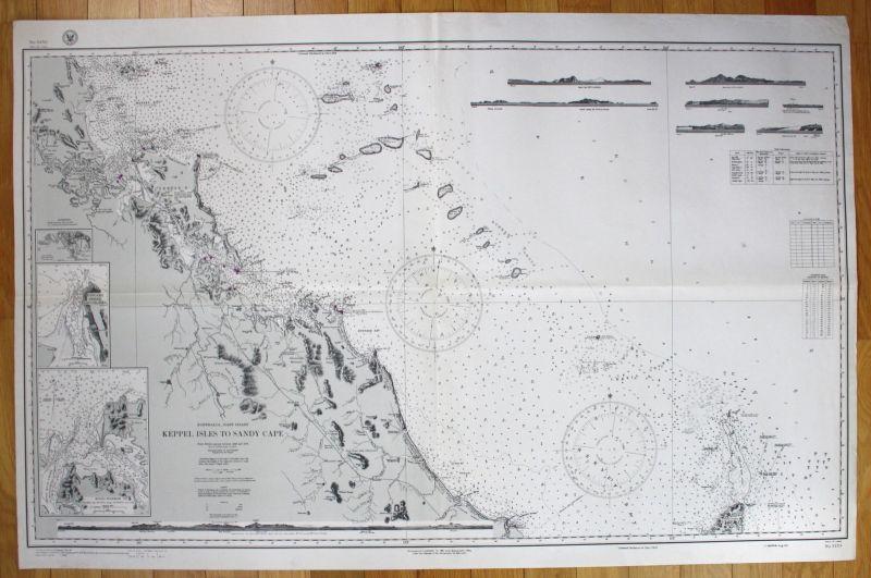 1943 Australia - East Coast - Keppel Isles to Sandy Cape Australien map