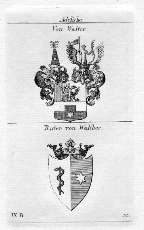 Walter / Walther - Wappen Adel coat of arms heraldry Heraldik Kupferstich