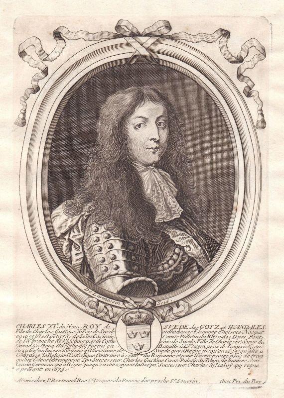 1680 Karl XI kung Sverige Portrait Schweden Kupferstich engraving de Larmessin