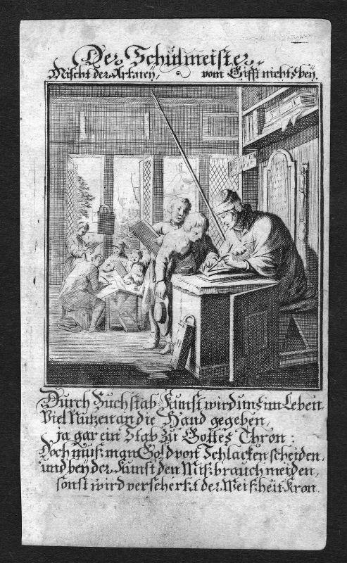 1700 Schulmeister schoolmaster Beruf profession Weigel Kupferstich antique print