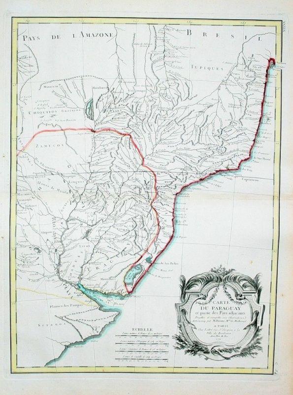 1771 - Paraguay map Karte Bonne Amerika Kupferstich Karte gravure carte America