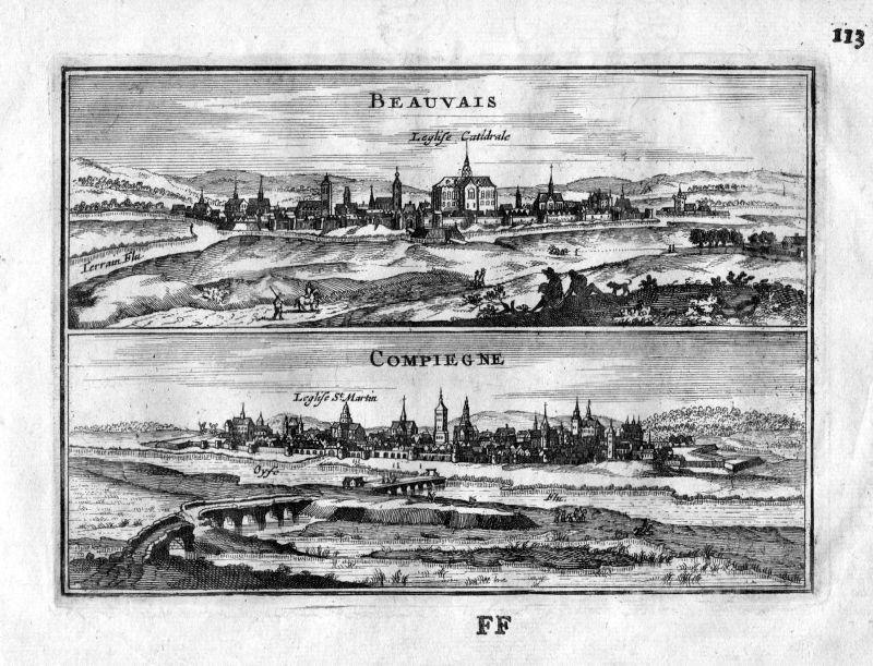 1666 Beauvais Compiegne Oise Frankreich France gravure estampe Kupferstich
