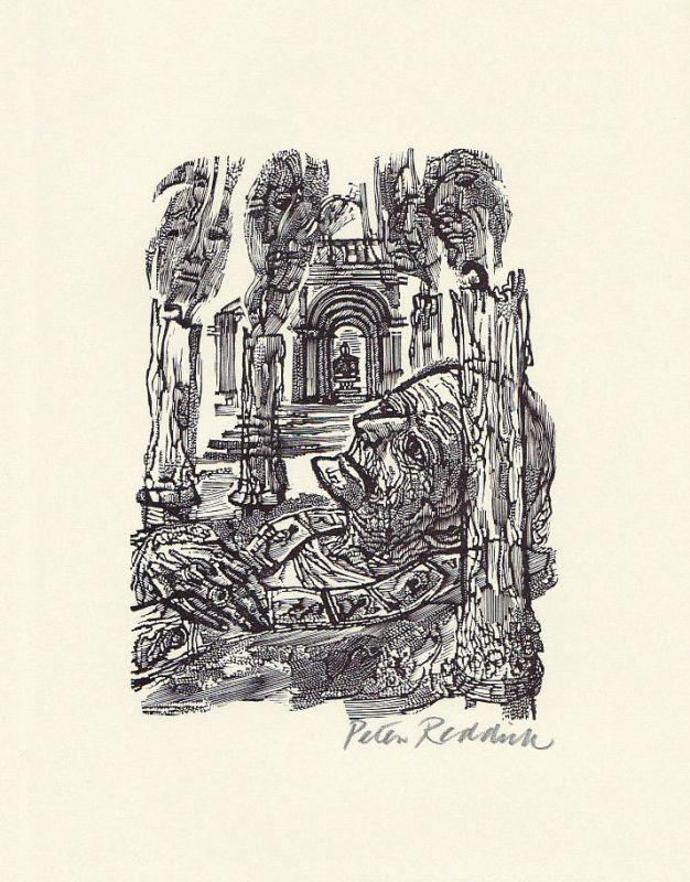 1972 Peter Reddick Robert Browning Holzstich zu einem Gedicht signiert