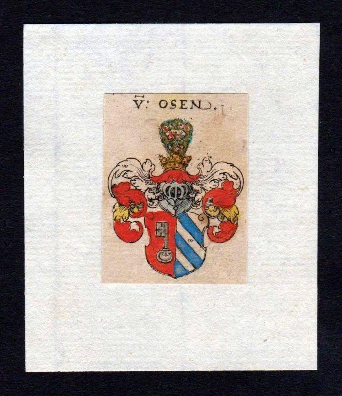 17. Jh Osen Wappen coat of arms heraldry Heraldik Kupferstich