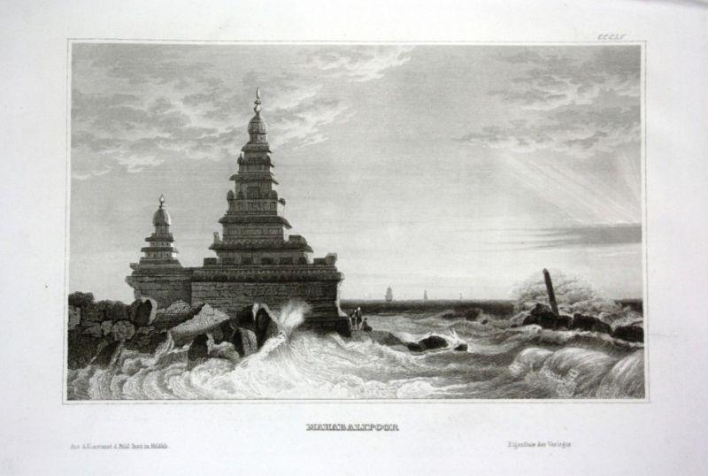 1840 Mamallapuram Küstentempel Tempel Indien India temple Stahlstich engraving