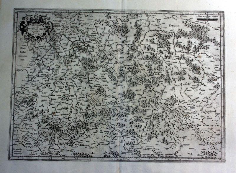 1627 Sachsen Lausitz Meissen Karte map Kupferstich antique print Hondius