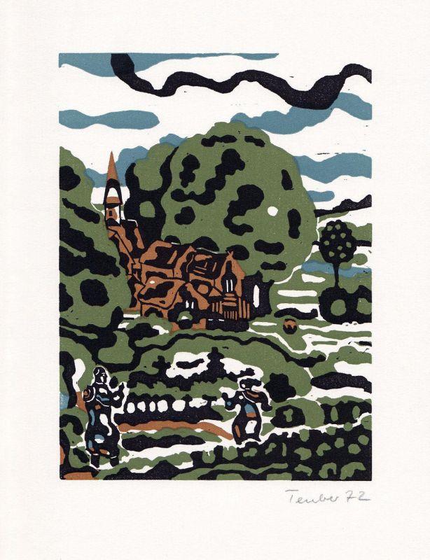 1972 Gottfried Teuber Linolschnitt zu Goethe