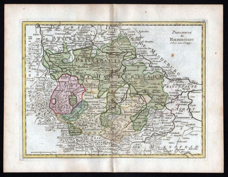 1759 Halberstadt Wernigerode Karte map Kupferstich antique print Le Rouge