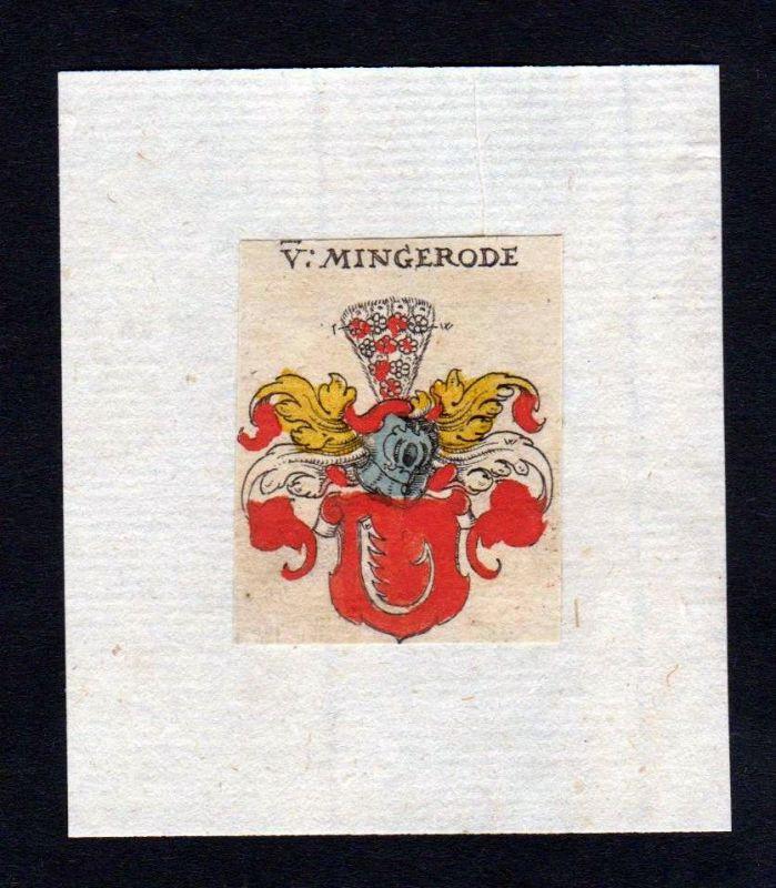 17. Jh Mingerode Wappen coat of arms heraldry Heraldik Kupferstich