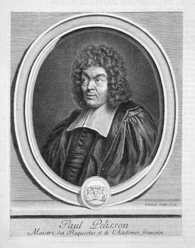 Paul Pellisson Schriftsteller writer écrivain Portrait Kupferstich engraving