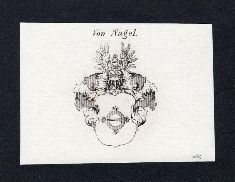 1820 Nagel Wappen Adel coat of arms heraldry Heraldik Kupferstich engraving