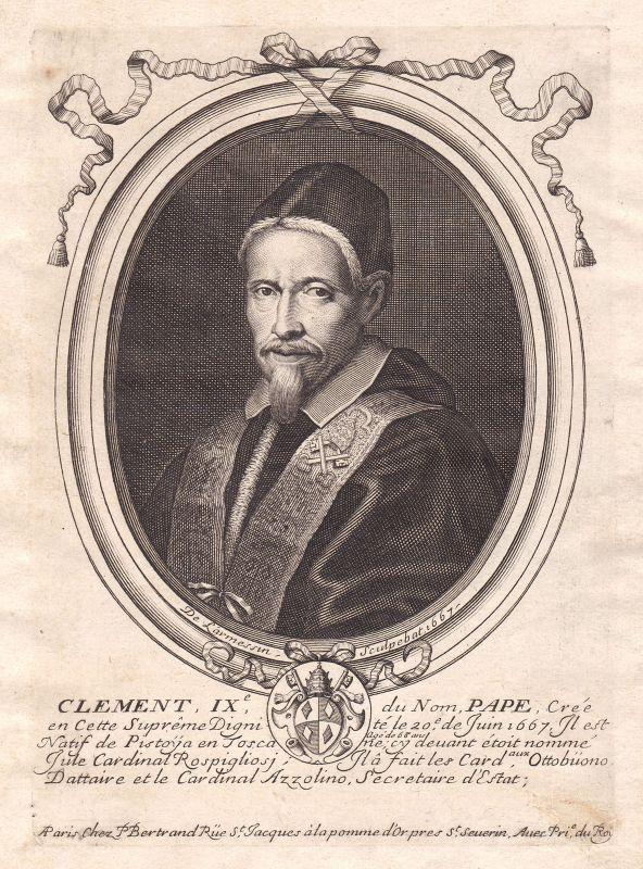 1680 Clemente IX papa Papst pope Portrait Kupferstich engraving de Larmessin
