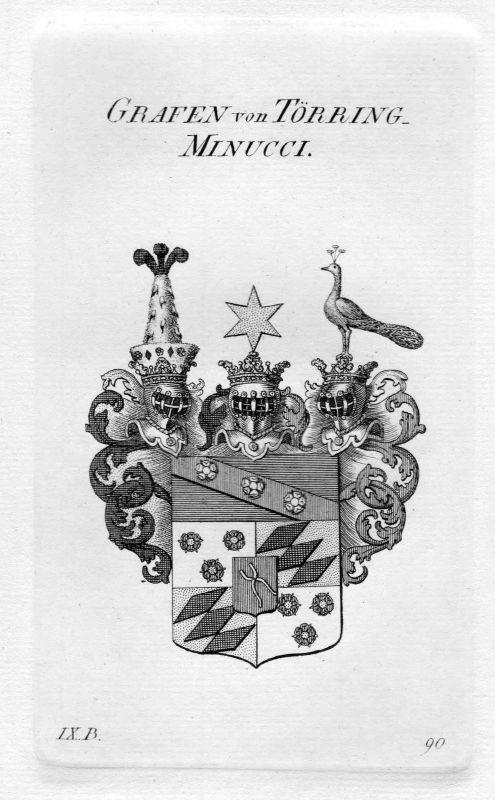 Törring / Minucci - Wappen Adel coat of arms heraldry Heraldik Kupferstich