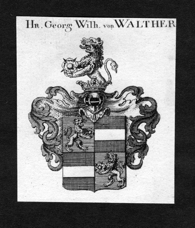 1820 - Walther Wappen Adel coat of arms heraldry Heraldik Kupferstich