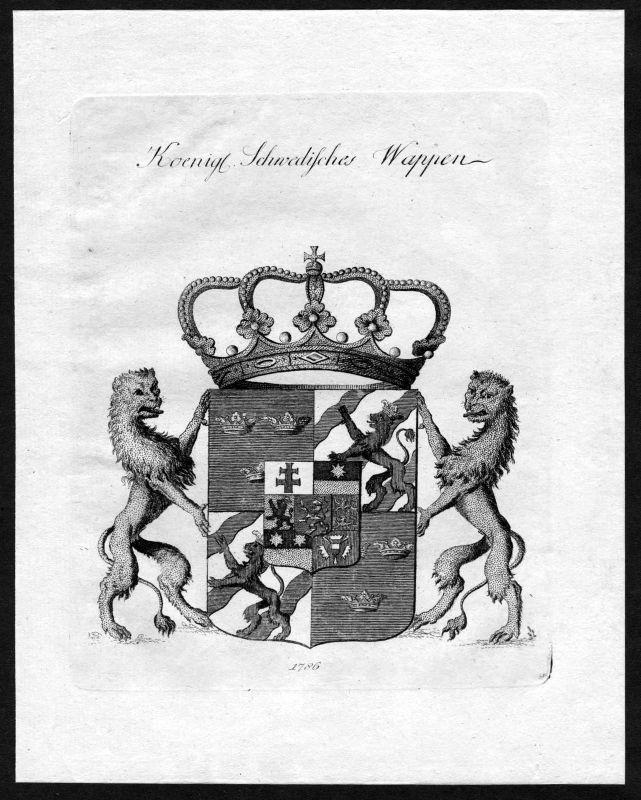 1786 Schweden Sverige Sweden Wappen coat of arms Heraldik heraldry Kupferstich