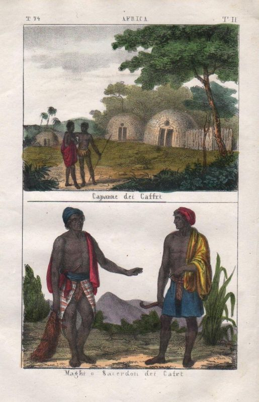 1840 - Xhosa Bantu Eastern Cape Africa people costume Lithograph Negro natives