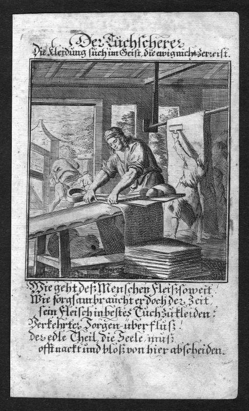 1700 Tuchscherer cloth shearer Beruf profession Weigel Kupferstich antique print