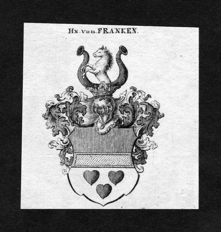 1820 - Franken Wappen Adel coat of arms heraldry Heraldik Kupferstich