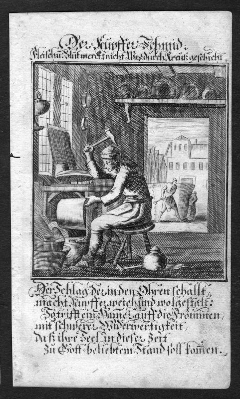 Kupferschmied coppersmith Beruf profession Weigel Kupferstich antique print