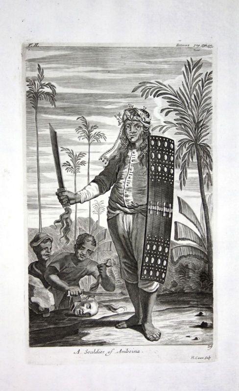 1730 Ambon island soldier Indonesia Maluku Kupferstich engraving Churchill