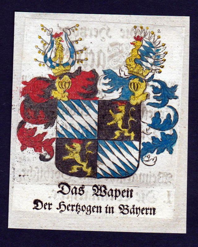 1750 - Bayern Wappen Adel coat of arms heraldry Heraldik Kupferstich