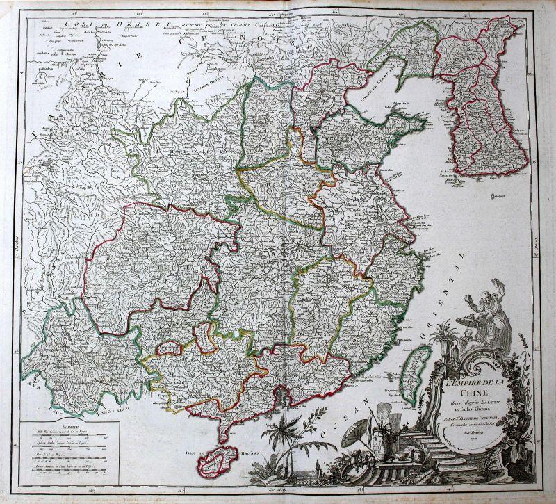 1751 China Asien Ostasien East Asia Karte map Kupferstich antique print