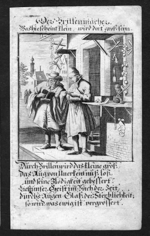 Optiker optician optometrist Beruf profession Weigel Kupferstich antique print