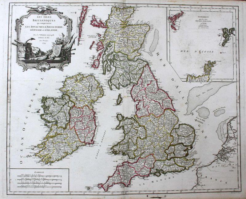 1754 England Schottland Irland Scotland Ireland island Karte map Kupferstich