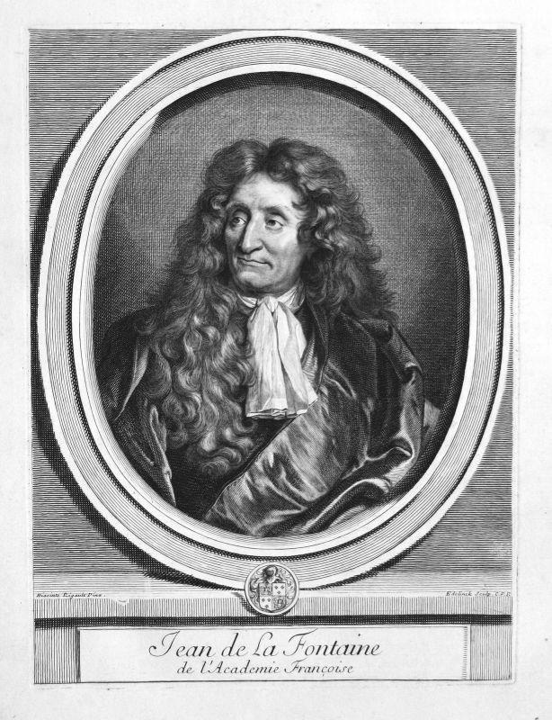 Jean La Fontaine Schriftsteller writer écrivain Portrait Kupferstich engraving