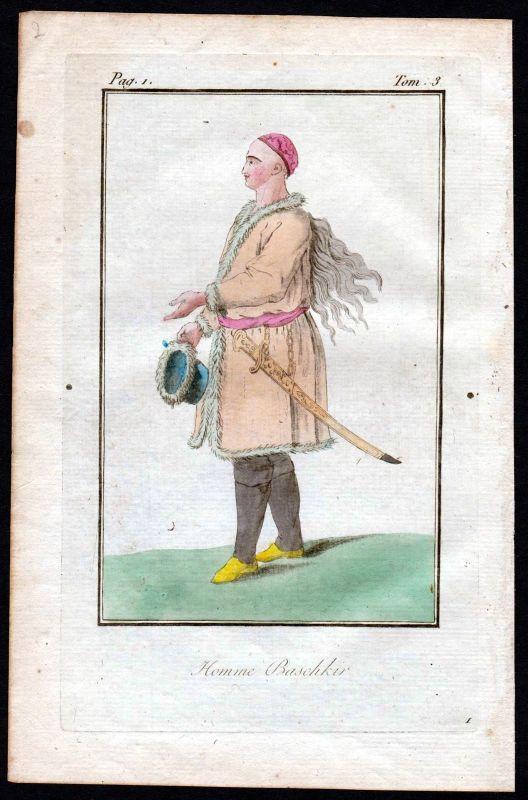1780 - Bashkir Russland Russia costume Kupferstich Tracht antique print