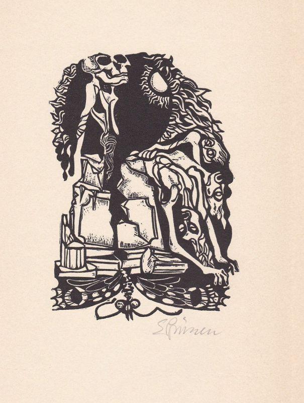 1972 Eduard Prüssen Rudolf Hagelstange Linolschnitt Venezianisch Credo signiert