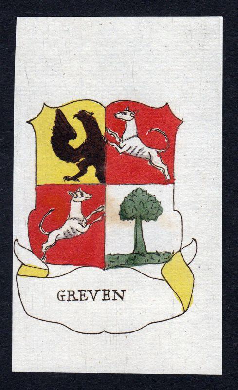 1800 Greven Nordrhein-Westfalen Wappen Adel coat of arms Kupferstich engraving