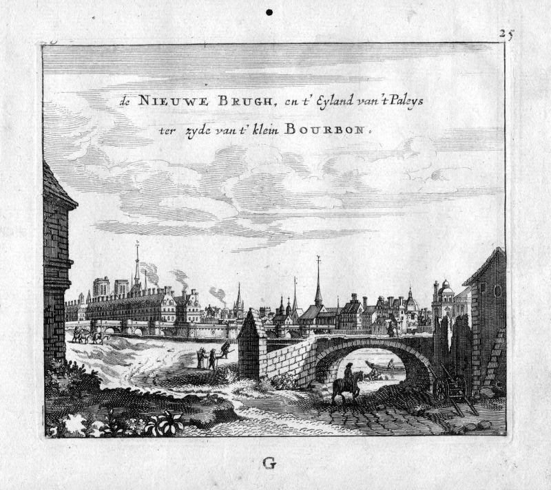 1666 Neue Brücke Paris Bourbon Frankreich France gravure estampe Kupferstich