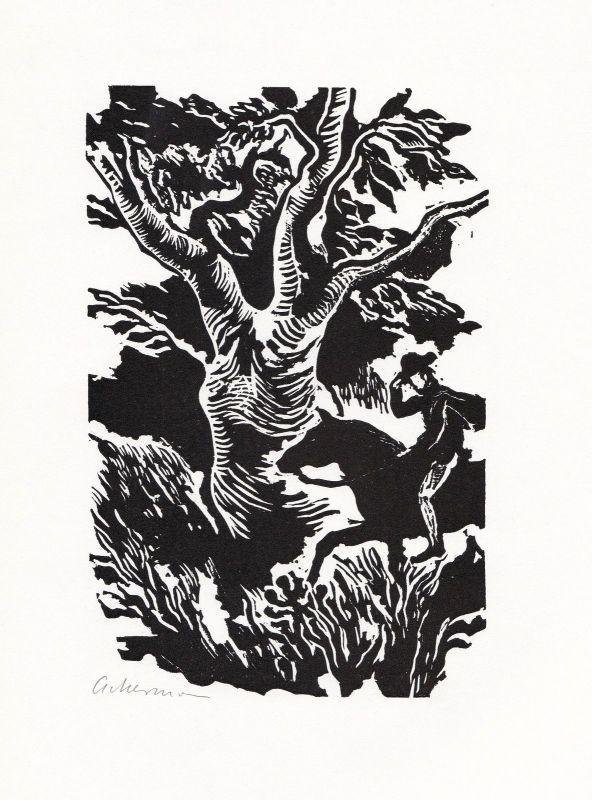 1969 Helmut Ackermann Charles Sealsfield Linolschnitt Das Kajütenbuch signiert