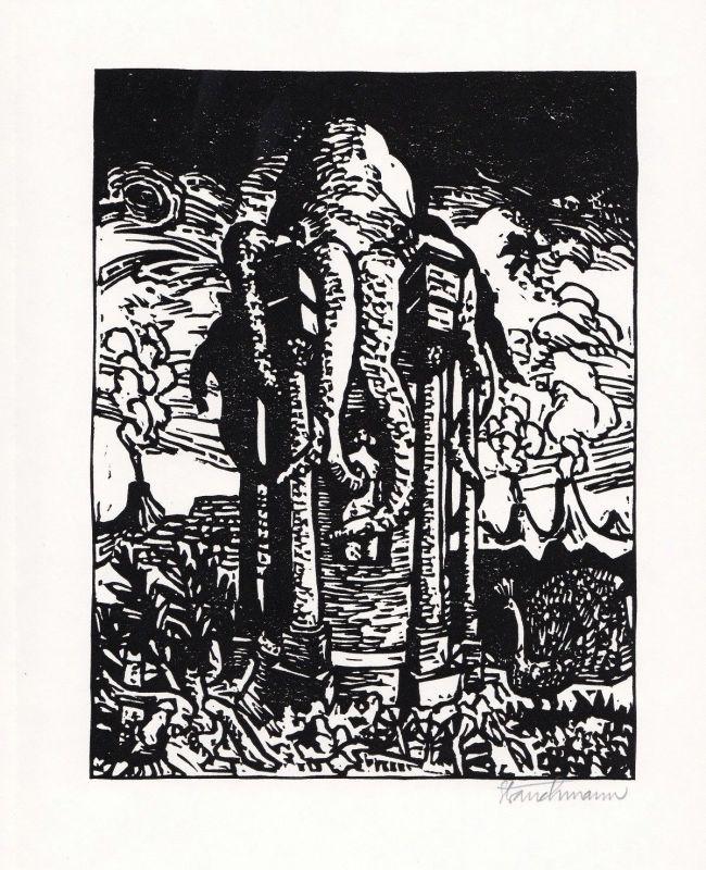 1973 Went Strauchmann Arthur Rimbaud Linolschnitt zu einem Gedicht signiert
