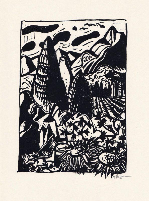 1973 Flora Hoffmann Isolde von Conta Linolschnitt zu einem Gedicht signiert