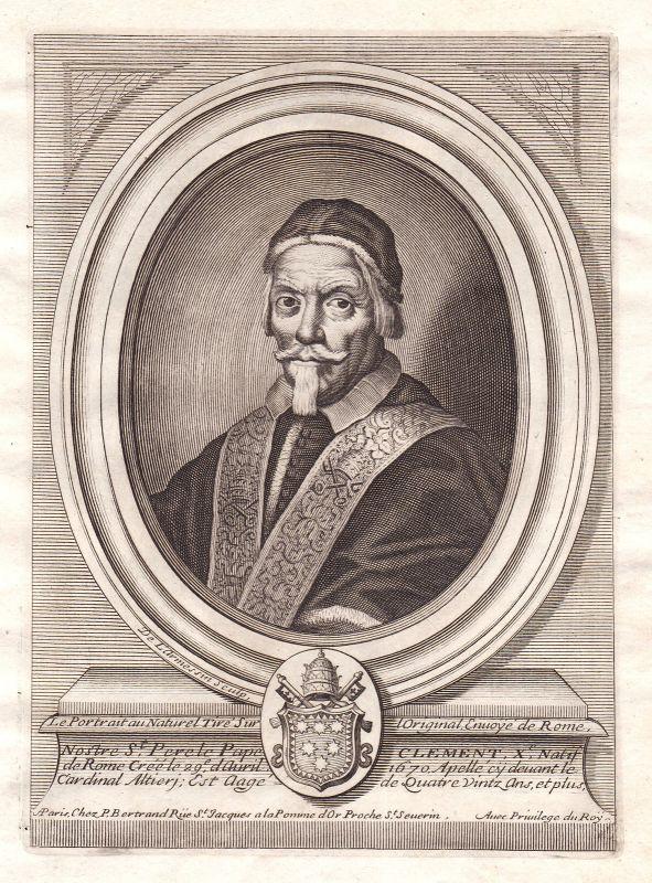 1680 Clemente X papa Papst pope Portrait Kupferstich engraving de Larmessin