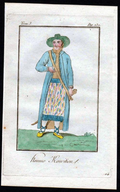 1780 - Kurilen Russland Russia costume Kupferstich Tracht antique print 115339
