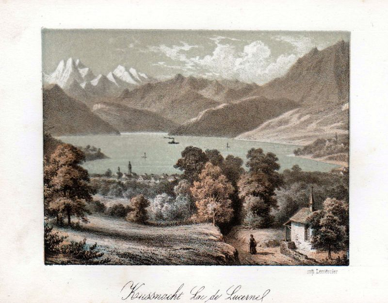 1840 Küssnacht Vierwaldstättersee Ansicht vue Farblithographie Litho Cuvillier
